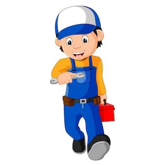 Mechaniker, der dienstprogrammkasten hält