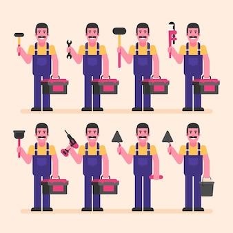 Mechaniker hält koffer und verschiedene werkzeuge. zeichensatz. vektorillustration