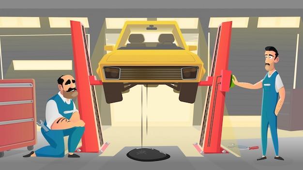 Mechaniker im fahrzeug autowerkstatt repariert auto.