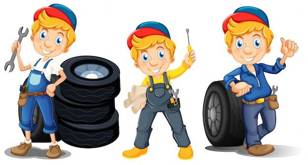 Mechaniker in drei verschiedenen posen
