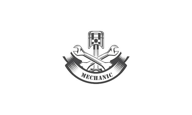 Mechaniker logo design services engineering reparatur Premium Vektoren
