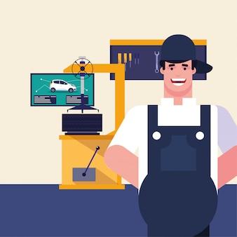 Mechaniker mit overol in der garage