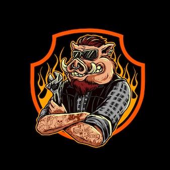 Mechaniker schwein logo