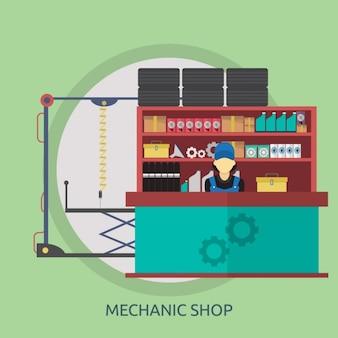 Mechaniker-shop hintergrund-design