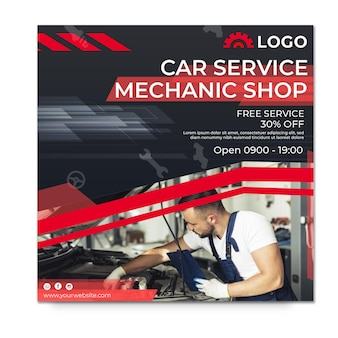Mechaniker shop quadratische flyer vorlage