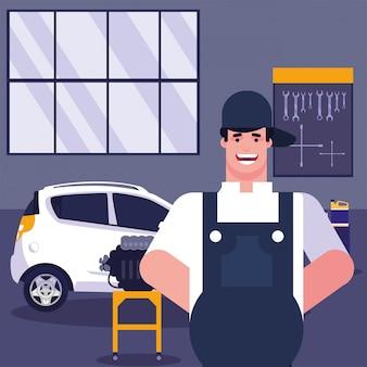 Mechaniker und auto mit overol in der garage