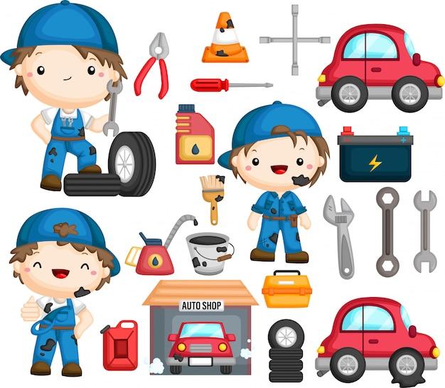 Mechaniker und damit verbundener gegenstand