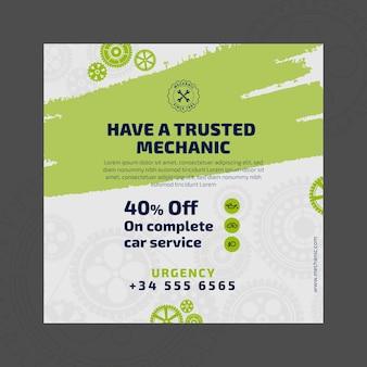 Mechaniker und service square flyer vorlage