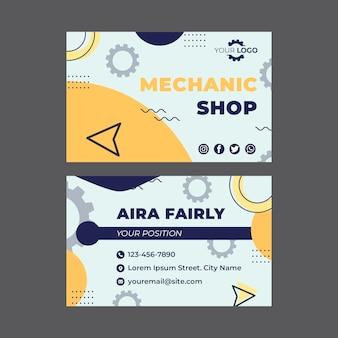 Mechaniker visitenkartenvorlage