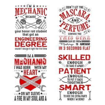 Mechaniker-zitat und sagen-set