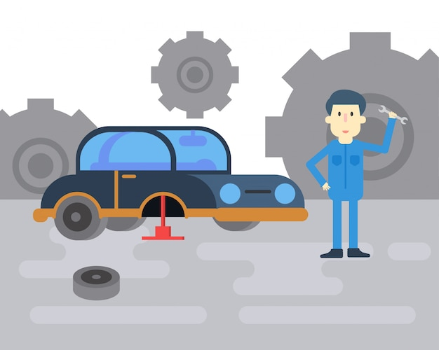 Mechanikerblick bereit zur arbeit in der autowerkstatt