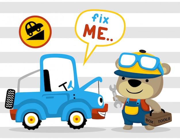 Mechanikerkarikatur mit lustigem auto auf gestreiftem hintergrund