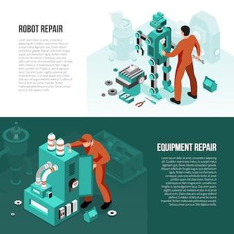 Mechanikersatz isometrische horizontale fahnen mit der reparatur des roboters und der wartungsausrüstung lokalisiert