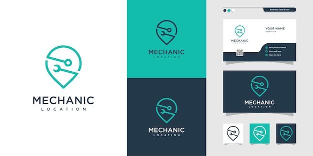 Mechanikerstandort logo und visitenkartendesign pin standortkartenservice reparatur premium-vektoren