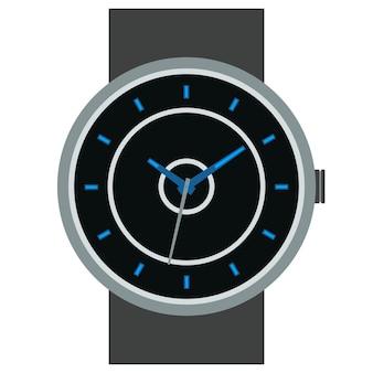 Mechanische armbanduhr des klassischen designs lokalisiert auf weißem hintergrund. zifferblatt mit stunden-, minuten- und sekundenzeiger. vektor-illustration.