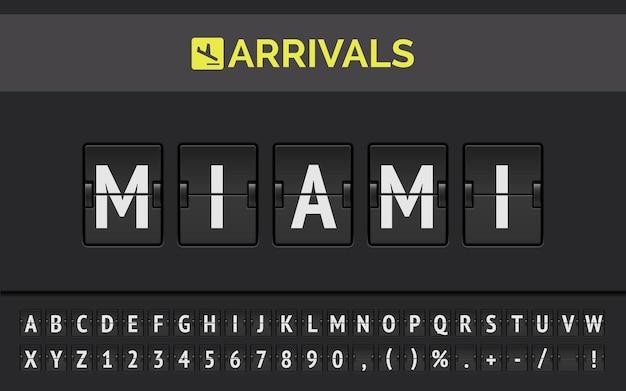 Mechanische flughafen-flipboard-schrift mit fluginformationen des zielorts in den usa: miami mit ankunftsschild der fluggesellschaft.