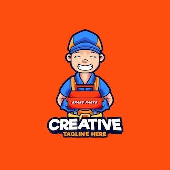 Mechanische maskottchen-logo-design-illustration. mechaniker mit ersatzteil-vektor-illustration