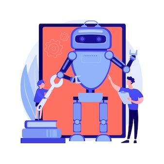 Mechanische roboterhand. engineering kybernetischer arm. elektronische maschine, steuerung, industrietechnik. techniker mit bau. vektor isolierte konzeptmetapherillustration.