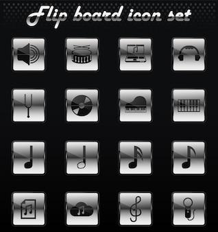 Mechanische symbole für musikvektor-flip für das design der benutzeroberfläche