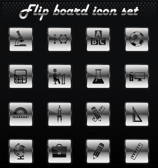 Mechanische symbole für schulvektor-flip für das design der benutzeroberfläche