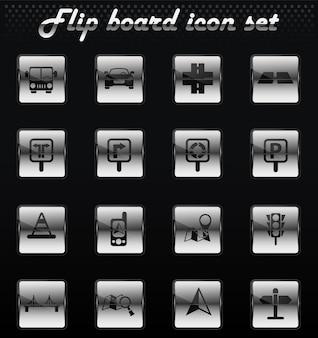 Mechanische symbole für straßenvektor-flip für das design der benutzeroberfläche