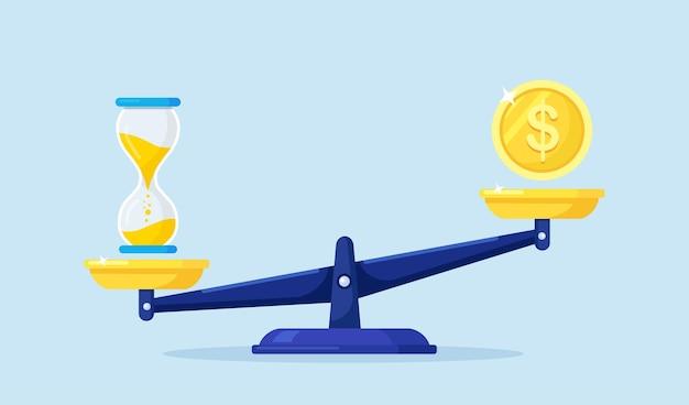 Mechanische waage mit dollarmünze und sanduhr. zeit- und geldbilanz. vergleich von arbeit und wert, finanzieller gewinn, jahresumsatz, zukünftiges einkommen. bargeld und uhr auf waage