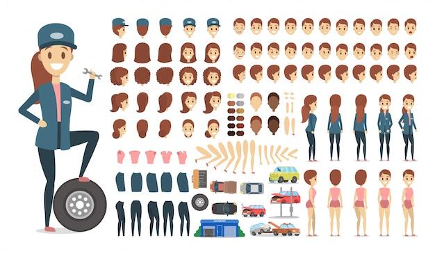 Mechanische weibliche figur in uniform oder kit für animation mit verschiedenen ansichten, frisur, emotion, pose und geste