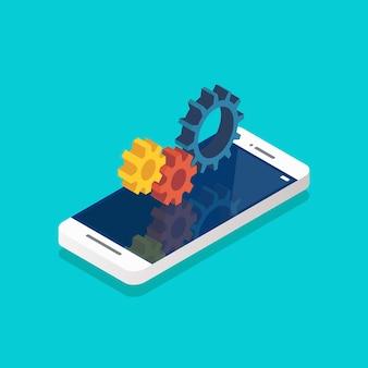 Mechanische zahnräder auf dem smartphone-bildschirm isometrisch. vektor-illustration