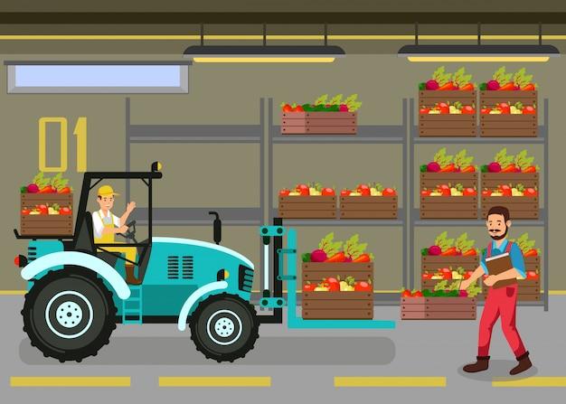 Mechanischer lader in der lagerhaus-flachen illustration