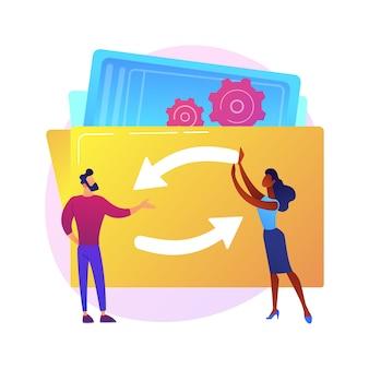 Mechanismus der teamarbeit. zeichentrickfiguren, die zahnräder zusammen drehen. coworking, zusammenarbeit, partnerschaft. teambuilding- und kooperationstechnologie.