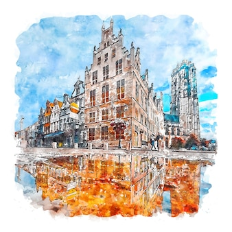 Mechelen belgien aquarellskizze handgezeichnete illustration