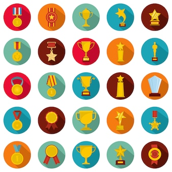 Medaille award icon set, flachen stil
