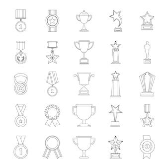 Medaille award icon set