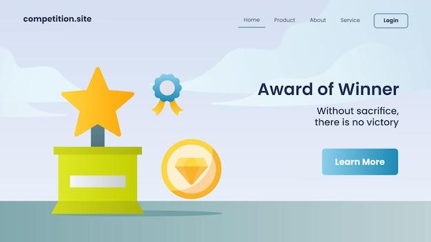Medaille, diamant und trophäe als gewinner mit slogan ohne opfer gibt es keinen sieg für die website-vorlage, die homepage-vektorillustration landet
