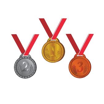 Medaille trophäe für sport vektor vorlage