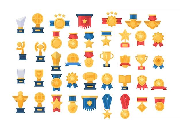 Medaille, trophäe, goldene pokale für gewinner