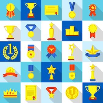 Medaille trophäe preis symbole gesetzt. flache illustration von 25 medaillen-trophäenpreis-preisikonen für netz