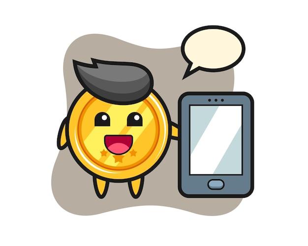Medaillen-karikatur, die ein smartphone hält