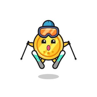 Medaillen-maskottchen-charakter als skispieler, süßes stildesign für t-shirt, aufkleber, logo-element