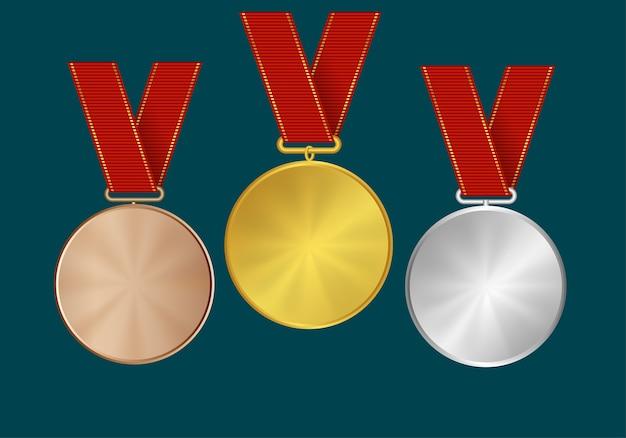 Medaillen und bänder für die gewinner. gold-, silber- und bronzefarben.