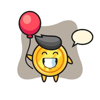 Medaillenmaskottchen spielt ballon