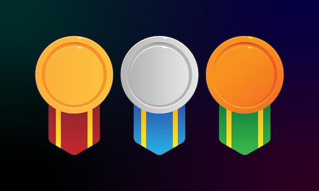 Medaillenvektor-set goldmedaille silbermedaille bronzemedaille