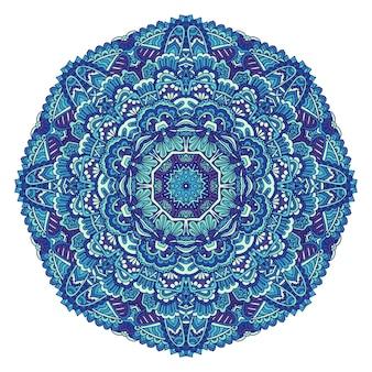 Medaillon-mandala-vektor-blau-weißes muster mit arabesken