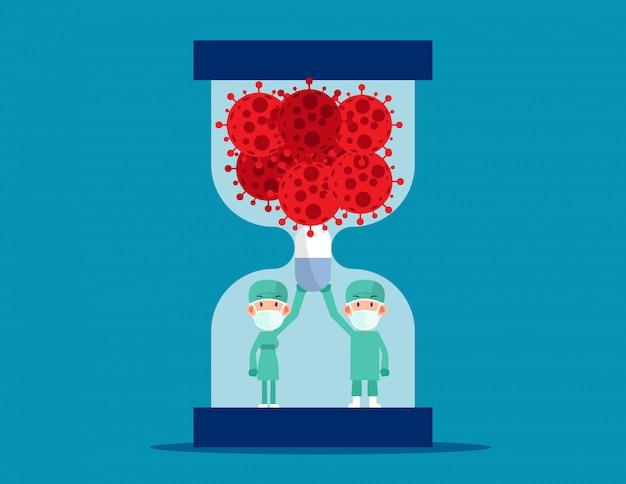 Medezinische angestellte. ärzte, die kapseln tragen, um das eindringen des virus zu verhindern