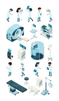 Medezinische angestellte. ausrüstung für krankenhaus und arzt personalarzt krankenschwester kinderchirurg sanitäter bei der arbeit bündel