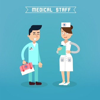Medezinische angestellte. krankenschwester und doktor. krankenhaus ärzteteam. gesundheitsvorsorge. medizinprofi. medizinisches konzept.