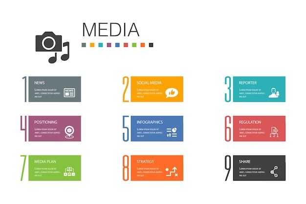 Media infographic 10 option line concept.news, reporter, infografiken, mediaplan einfache symbole