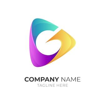 Media play + buchstabe g logo-konzept