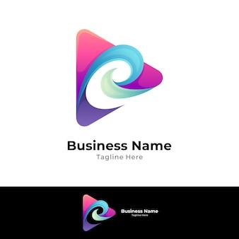 Media play letter e logo