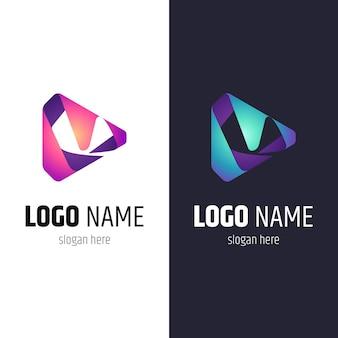 Media play letter m logo